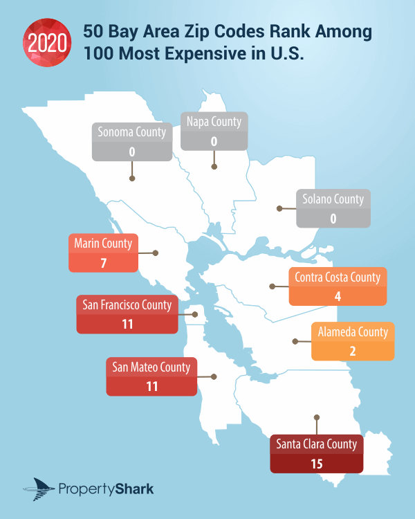 90e5e 8073172 bayareamap San Francisco Bay Area home to 50 of the 100 priciest zip codes in the country, real estate data shows   KGO